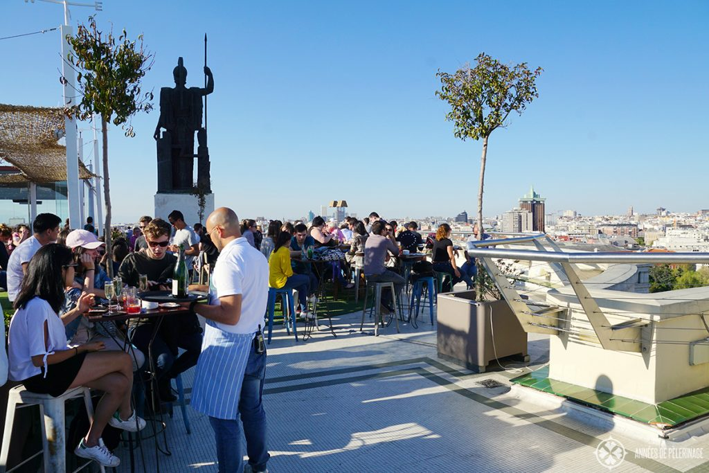 The tartan rooftop bar at Círculo de Bellas Artes in Madrid