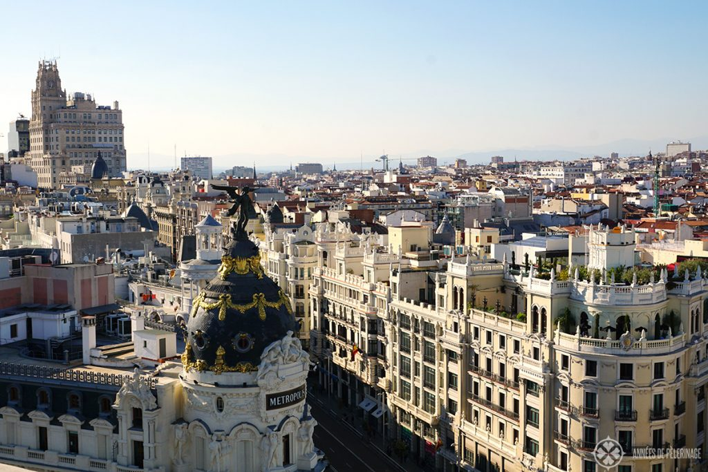 The view from the Tartan rooftop bar Madrid Círculo de Bellas Artes