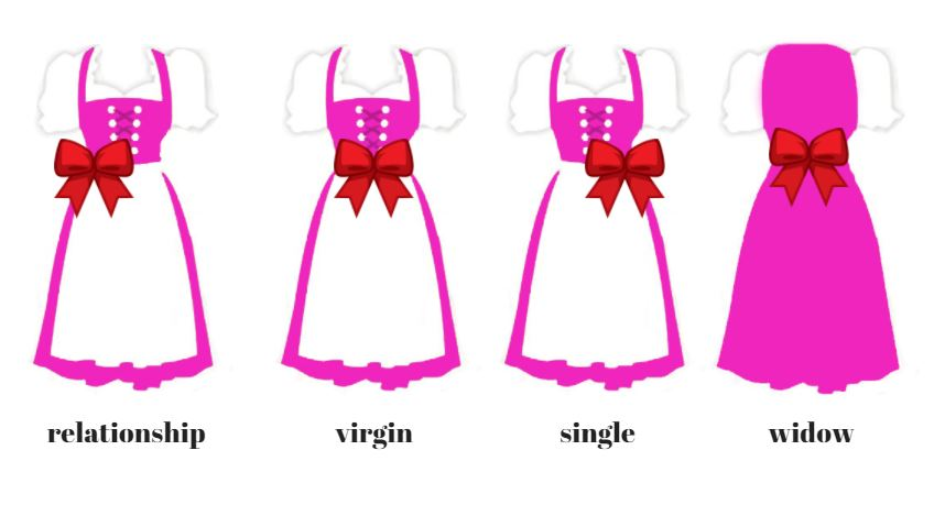 How to tie the pinafore of a traditional bavarian dirndl correctly
