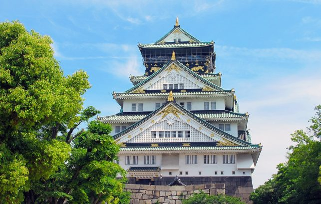 The Osaka castle in bright sunshine - one of japan's biggest samurai castles