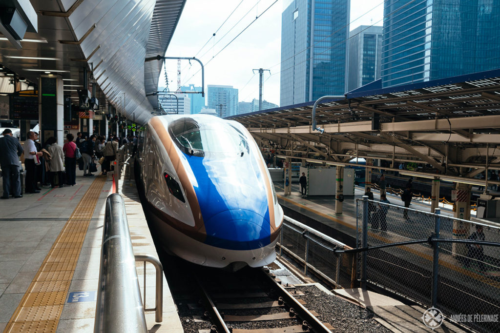 The North Kanto shinkansen highspeed train waiting in Tokyo to depart for Nikko