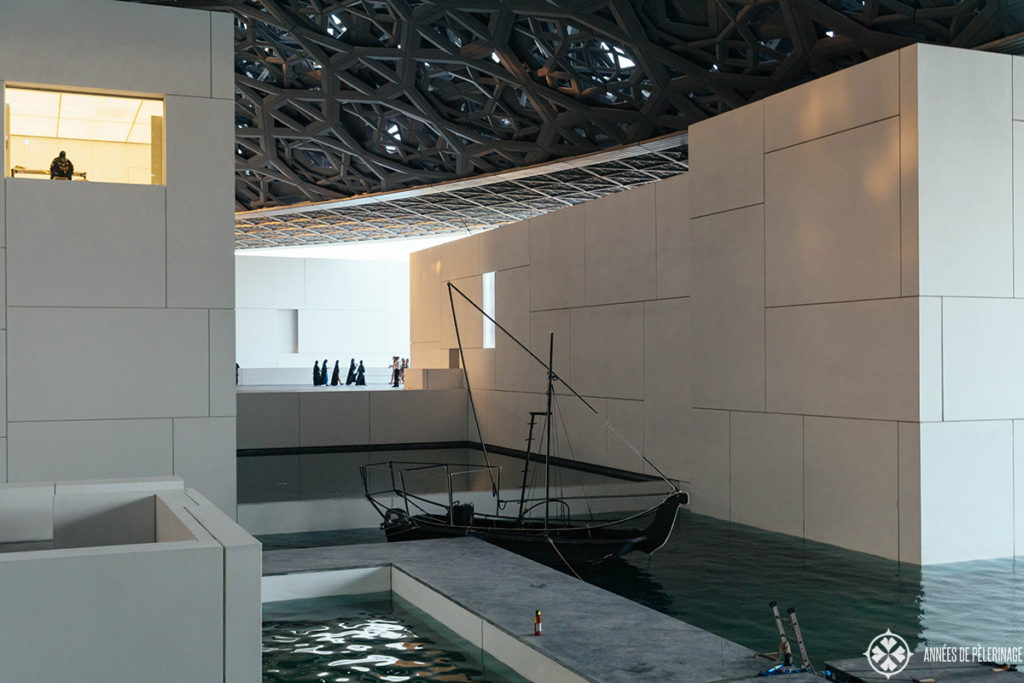 One of the many little boat quays inside the Louvre Abu Dhabi