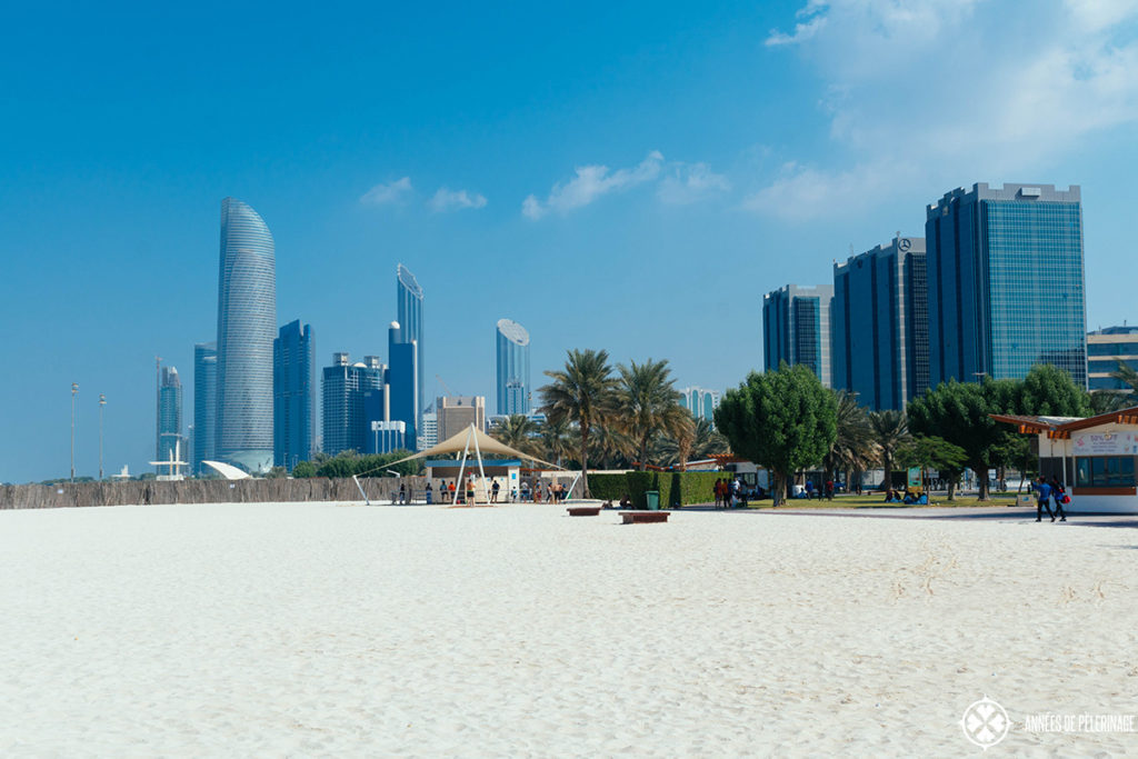 Walking along the corniche park in Abu Dhabi
