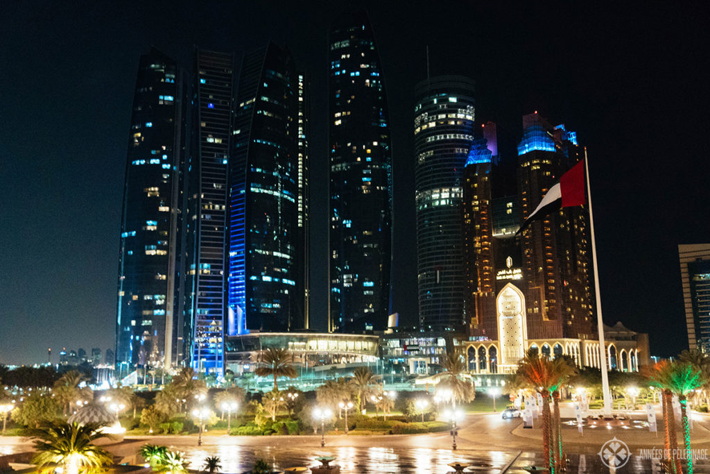 The Skyline of Abu Dhabi at night