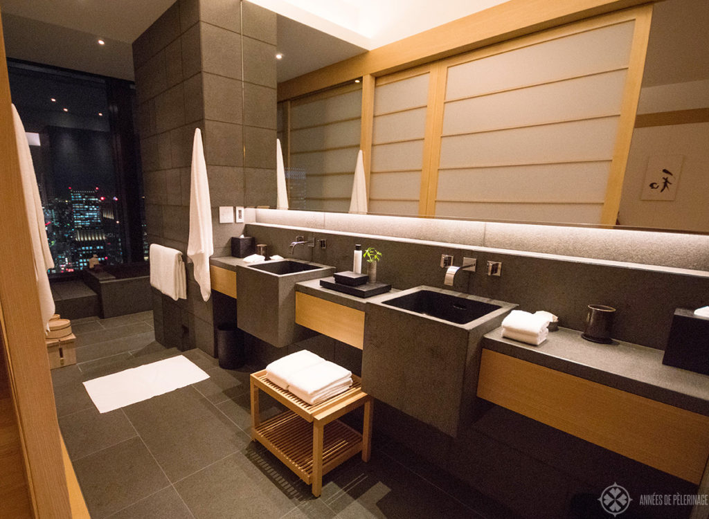 The spacious bathroom of the Aman Tokyo
