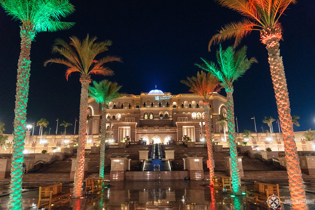 The emirates palace luxury hotel Abu Dhabi seen at night