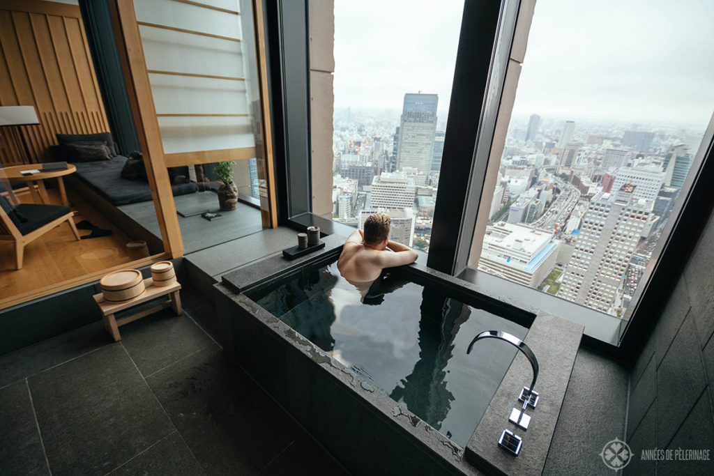 Enjoying the view from the bathroom of my premier room at the Aman Tokyo luxury resort