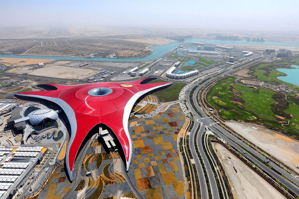 The Ferrari World Abu Dhabi as seen from above