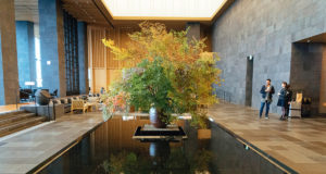 A flower arrangement inside the lobby of the Aman Tokyo