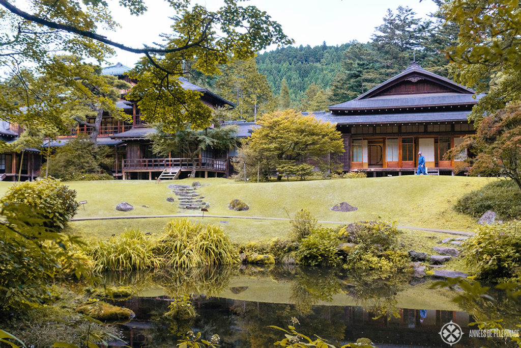The view on the Tomozawa Imperial villa in Nikko from the garden pond