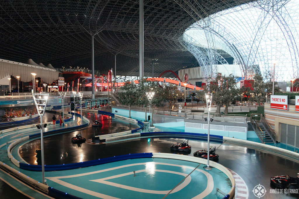 Inside the Ferrari World - one of the most fun things to do in Abu Dhabi. Seen here: The Go-Kart track