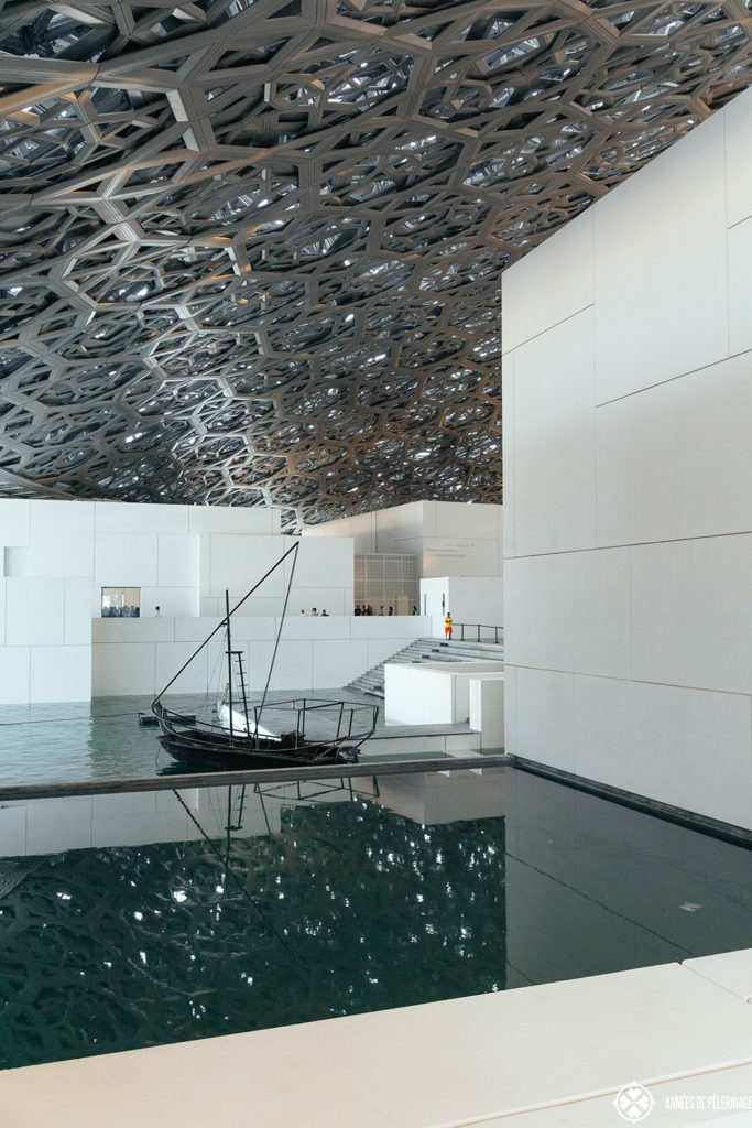 Inside the Louvre Abu Dhabi - there are many little quays whith abstracted boat stuctures - truly one of the best things to do in Abu Dhabi