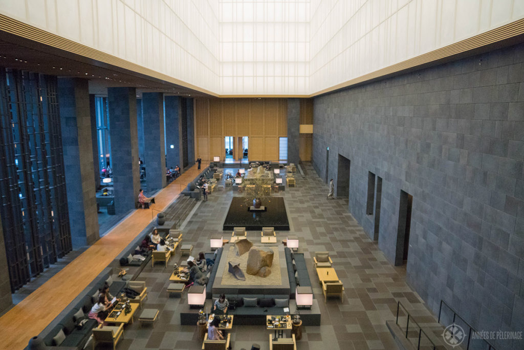 The lobby of the Aman Tokyo resort seen from above in Autumn
