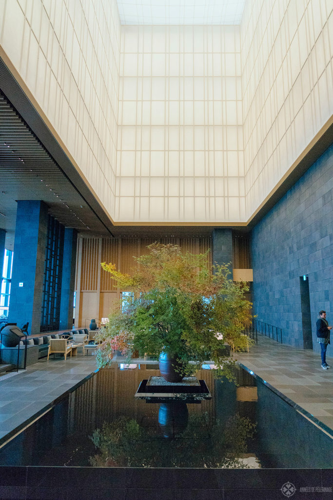 The grand lobby of the Aman Tokyo in autumn