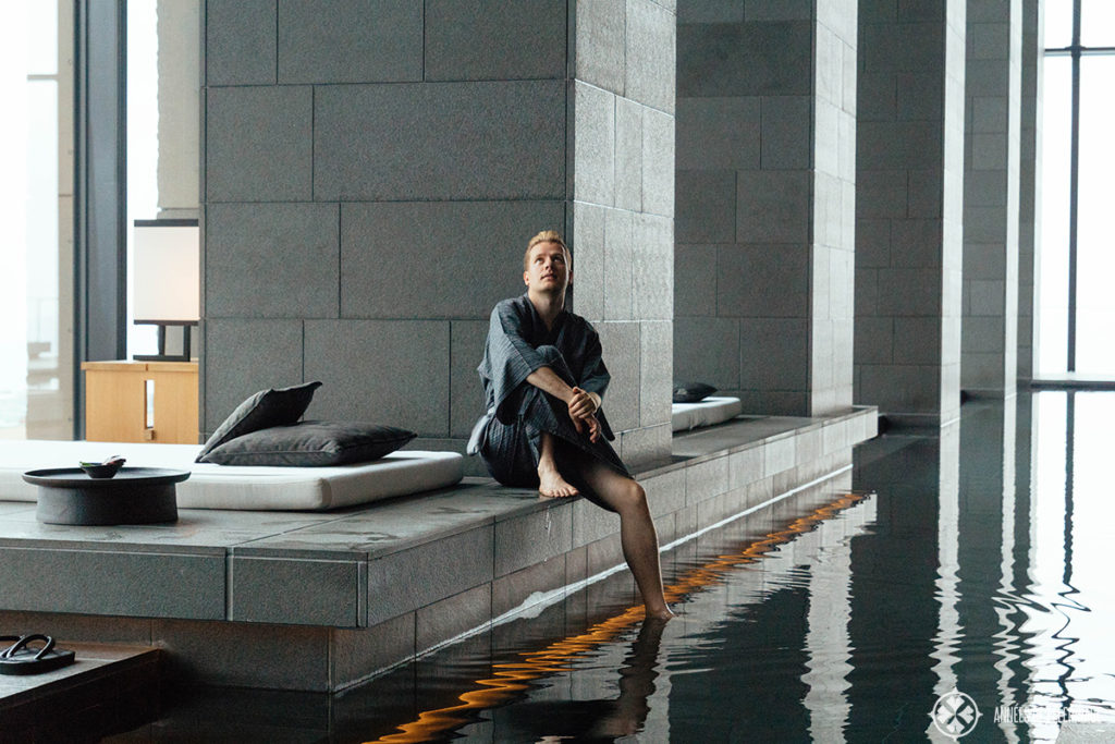 Me sitting at the pool of the aman Tokyo spa