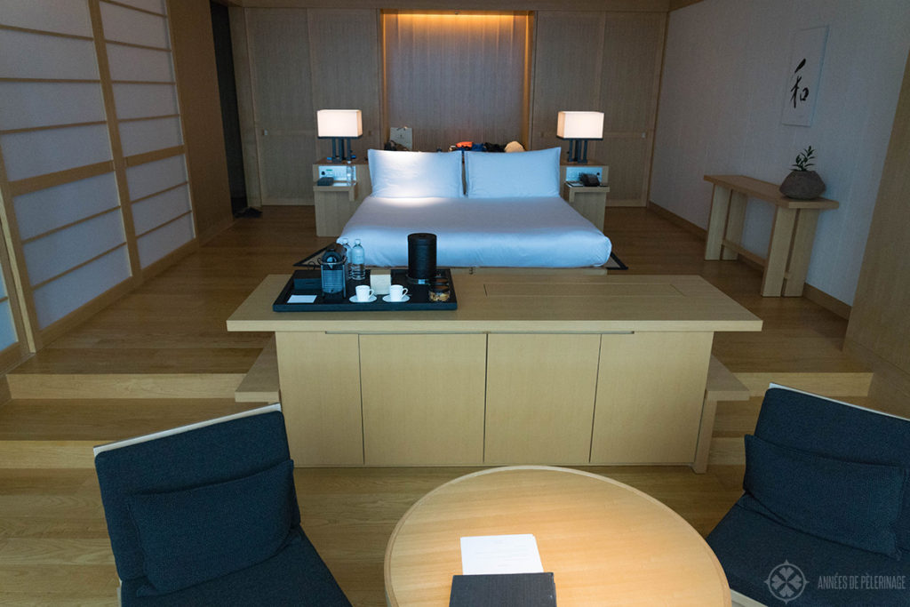 View of the premier room at the Aman Tokyo luxury hotel