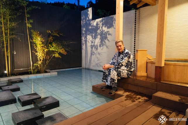 Me sitting at my private pool in the Okunoin Hotel Tokugawa in Nikko, Japan