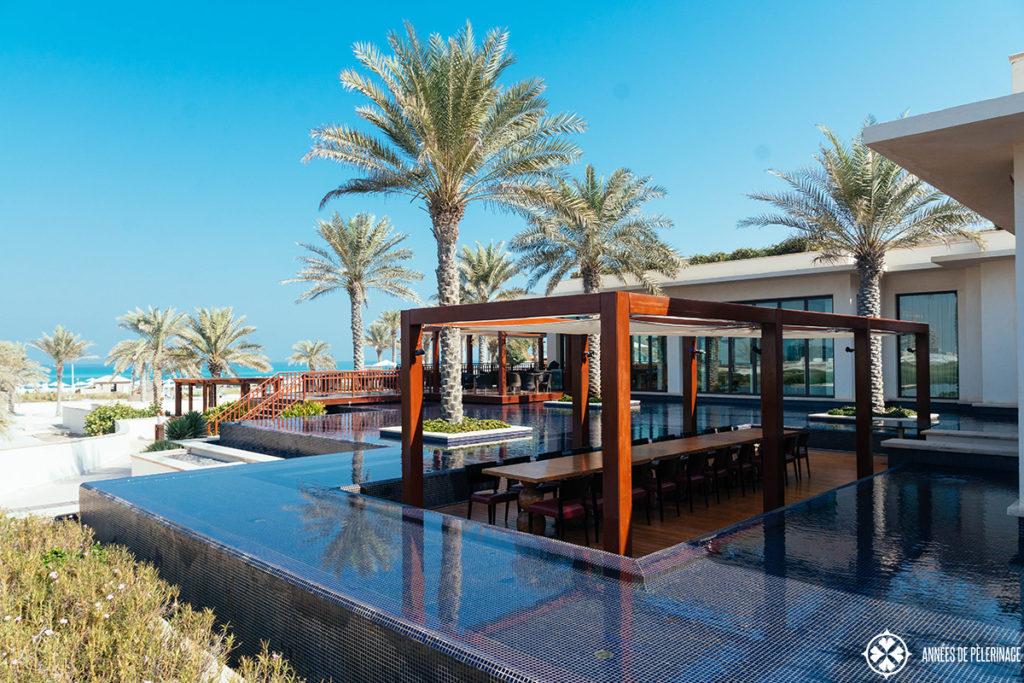 Beach bar at the St. Regis luxury hotel on Saadiyat Island in Abu Dhabi