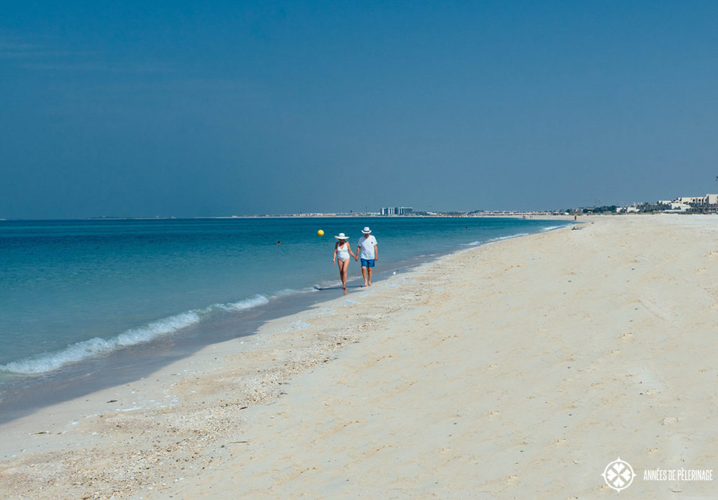 The long curving beach of Saadiyat Island Abu Dhabi