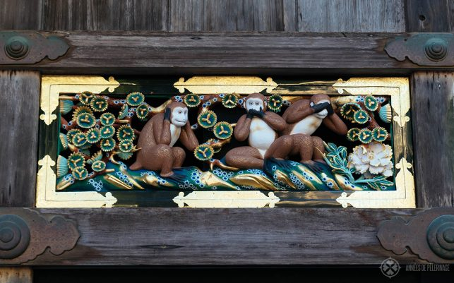 The three wise Monkeys wood carving at Toshogu Shrine - for many tourists one of the tourist highlights in Nikko, Japan