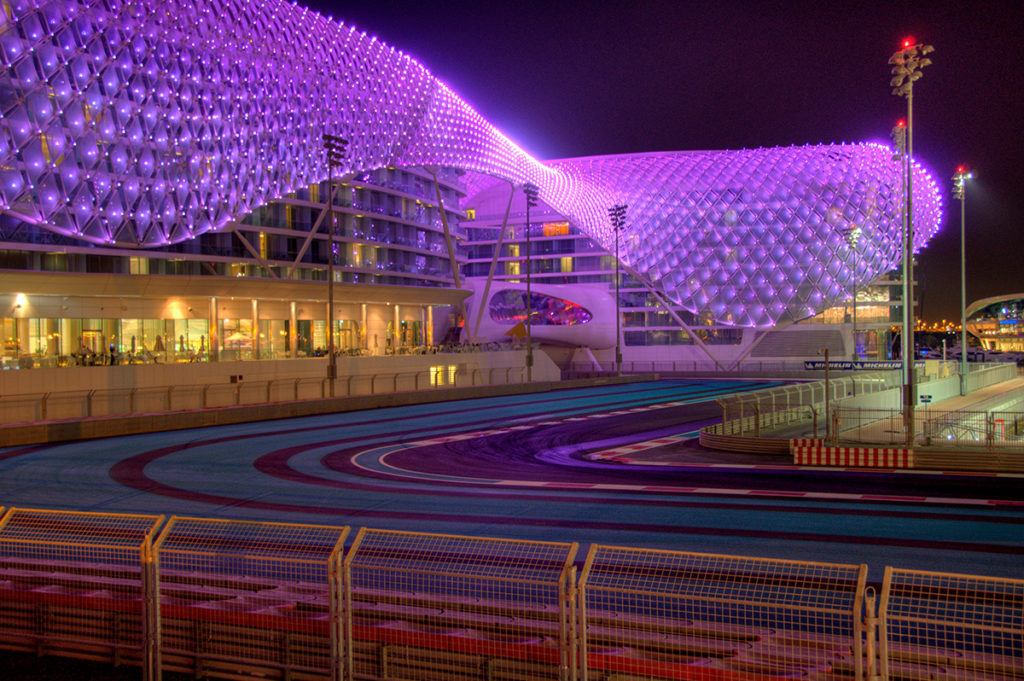 Yas Marina Circuit Abu Dhabi at night and the Yas Hotel