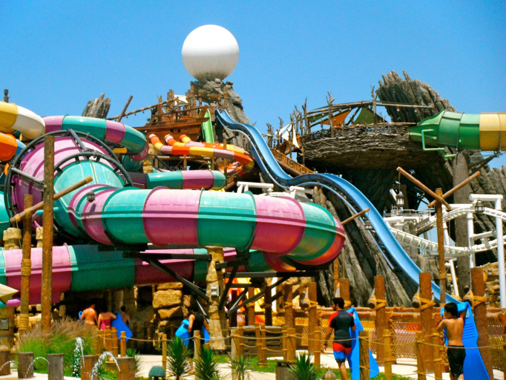 Slides at the Yas Waterworld, one of the best things to do in Abu Dhabi with kids