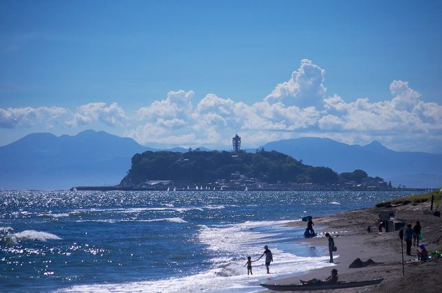 Enoshima Island and enoshima beach as seen from Kamakura