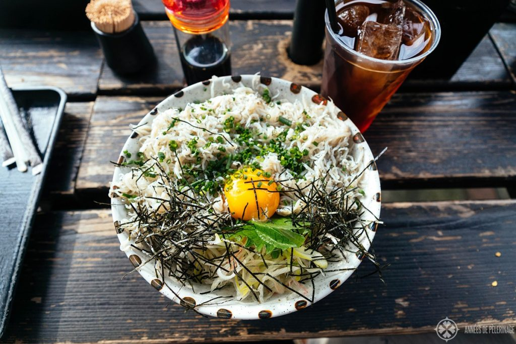 Food in Kamakura: Shirasu-don, a sort of whitebait with egg yolk and rice, is what you need to eat when you are in town.