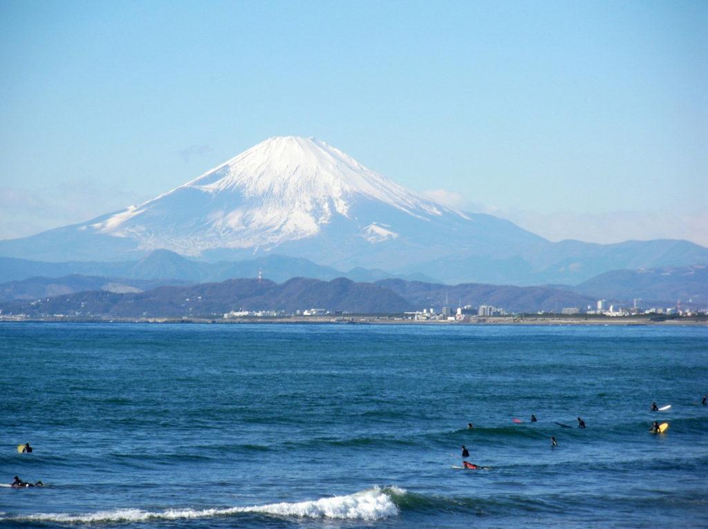 Surfers Enoshima beach Kamakura, Japan