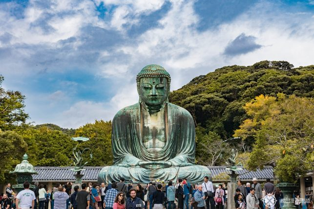The great Buddha of Kamakura, goes by the japanese name Daibutsu, and is one of the top points of interests in Kamakura and will be featured in all the japan travel guides