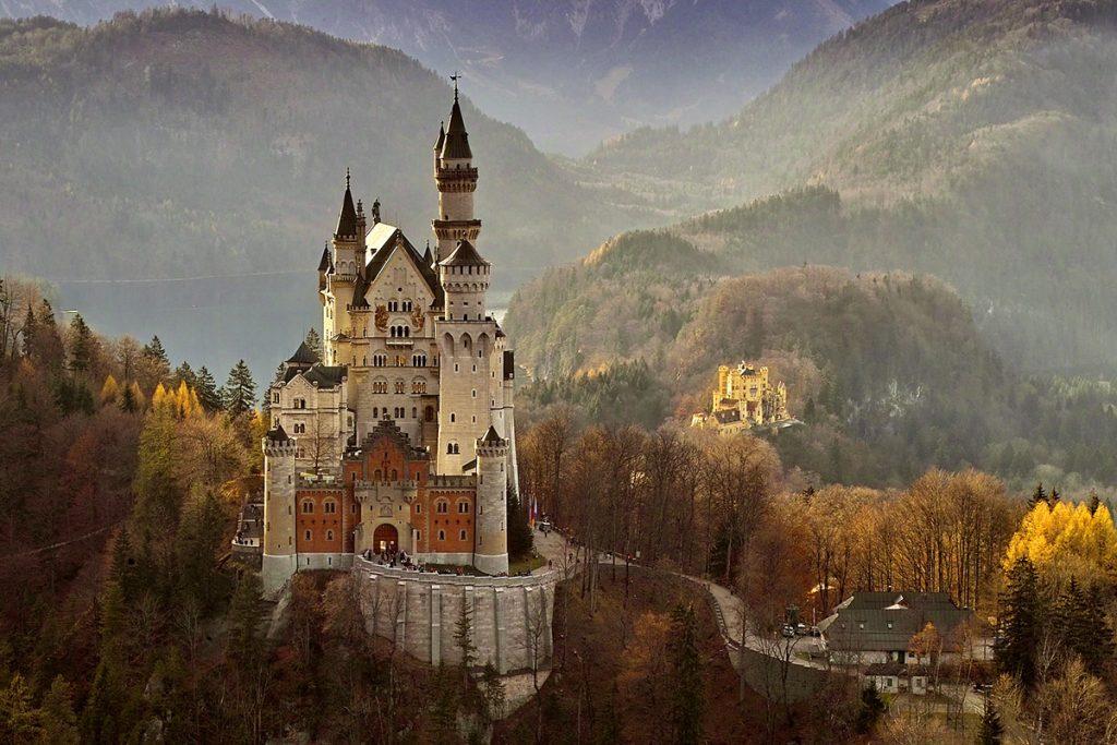 Front view of Castle Neuschwanstein near Füssen in Germany
