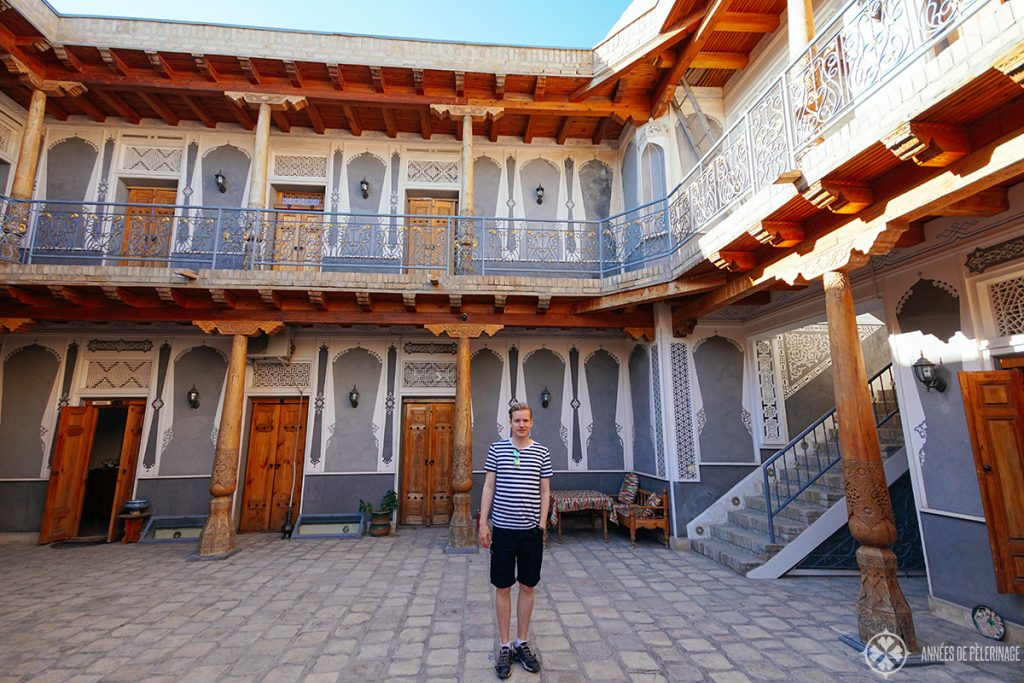 me in the courtyard of hotel minifzia bukhara uzbekistan