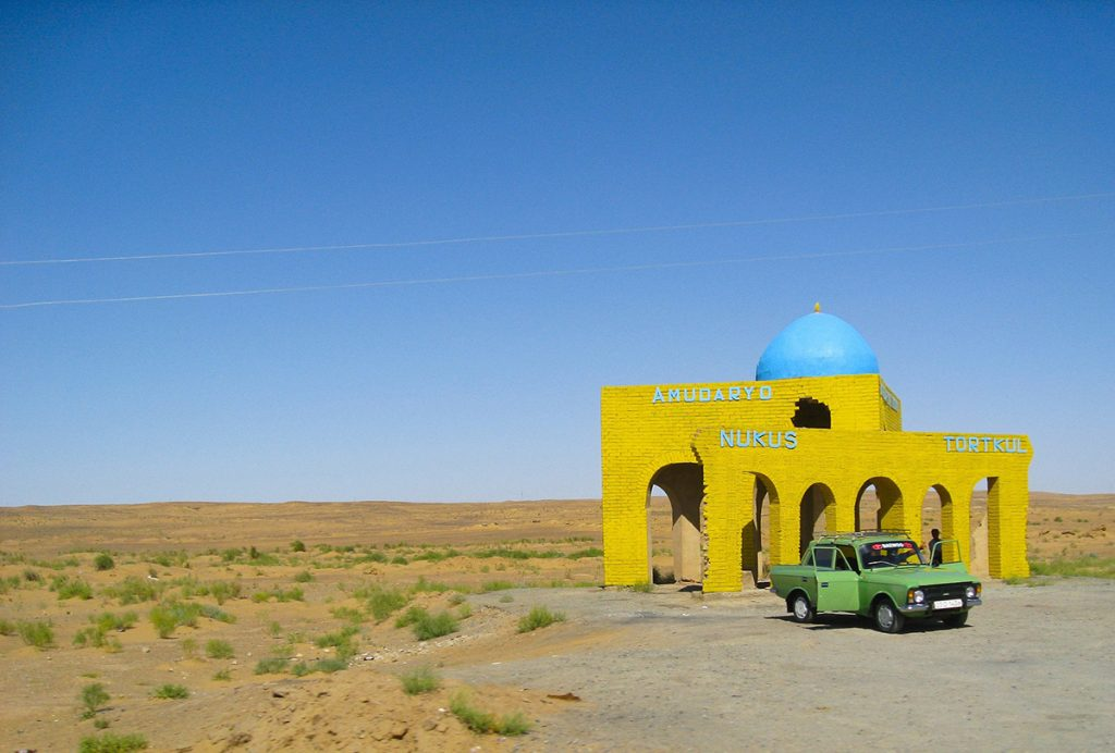bus station near Nukus, Uzbekistan