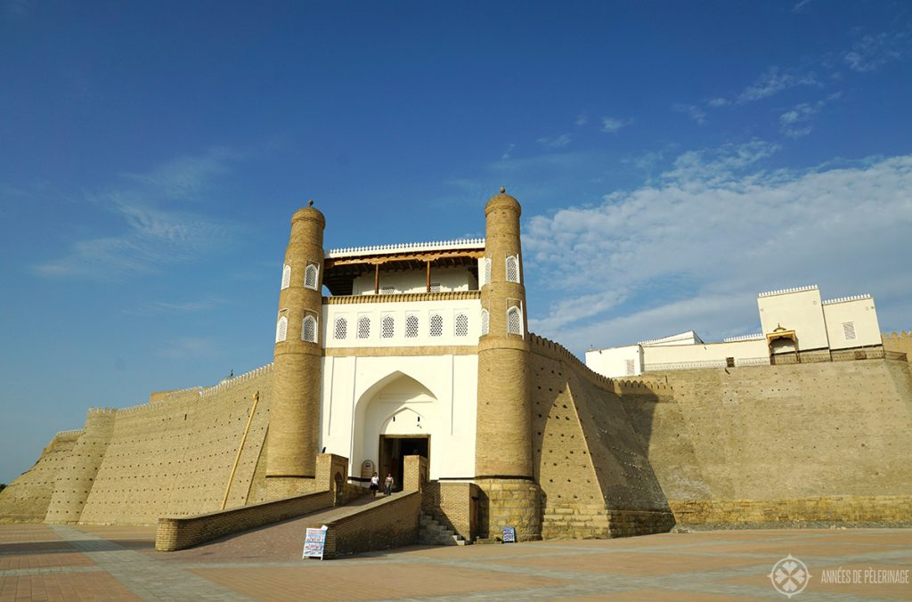 Entrance gate of the ark of Bukhara - one of the many place to see in Bukhara, Uzbekistan