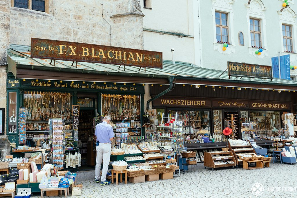 A traditional souvenir shop selling candles and other pilgrimage items in Altöttingen, Germany