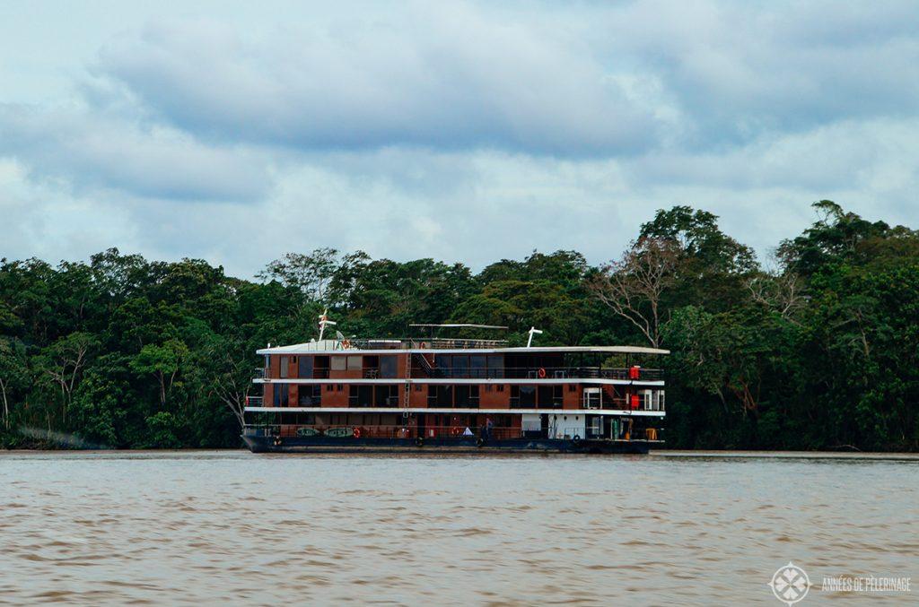 A cruise ship on the amazon river in Ecuador
