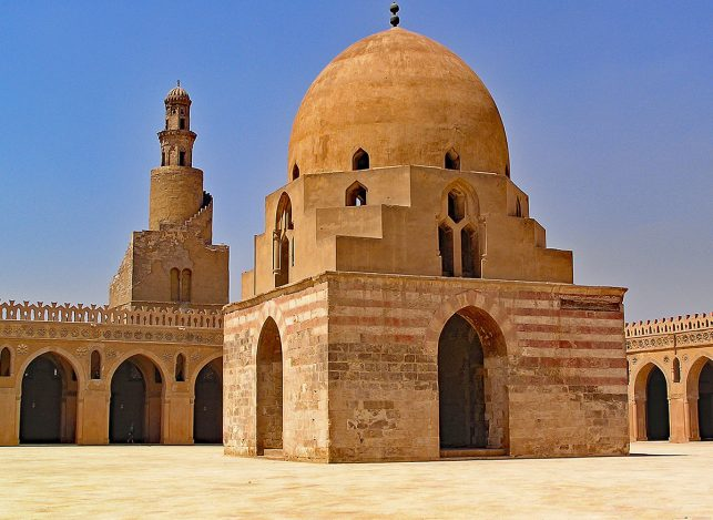 The courtyard of the Mosque of Ibn Tulun in Cairo Egypt - the oldest surviving mosque in cairo