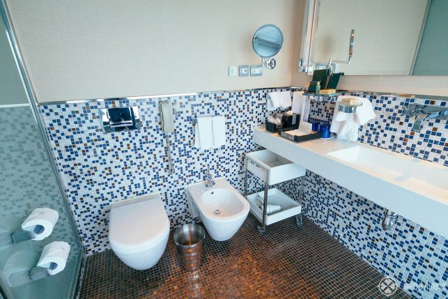 bathroom luxury cabin on the Oberoi Zahara luxury Nile cruise ship in Egypt