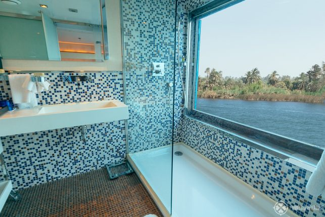 The bathroom of the Oberoi Zahara luxury Nile cruise ship in Egypt with huge panoramic windows