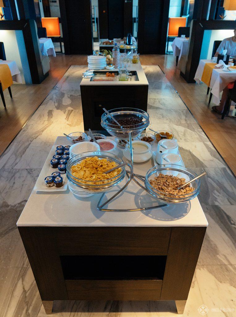 breakfast buffet onboard the Oberoi Zahra luxury Nile cruise ship in Egypt