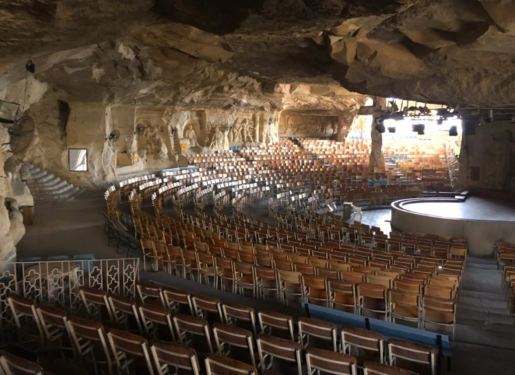 Main hall of the monastery of St. Simon in Cairo - a very unique cave church