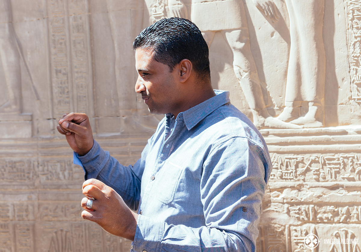 Our tour guide on the excursions on the oberoi zahara luxury nile cruise explaining us a temple