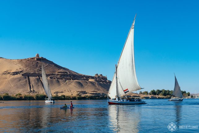 A felucca inside of the tomb district in Aswan, Egypt