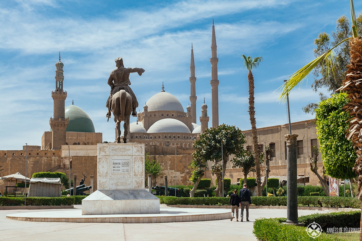 Walking through the gardens of the Cairo citadel - one of the top tourist attractions in Cairo