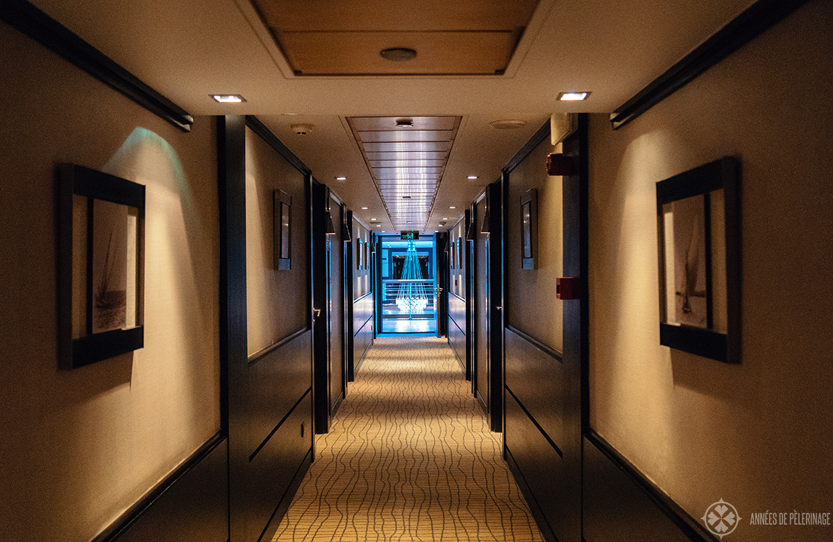 the aisles leading to the luxury cabins of the Oberoi Zahara luxury Nile cruise ship in Egypt