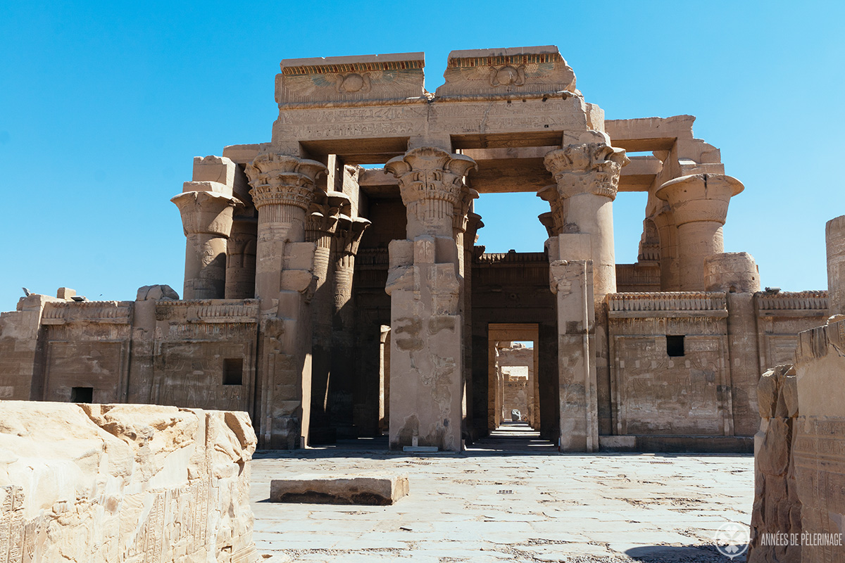 front view of the Kom Ombo double temple in Egypt