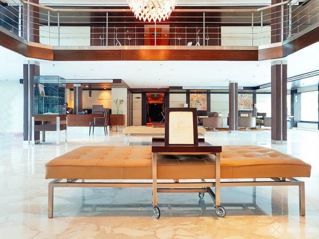 The spacious lobby of the Oberoi Zahara luxury Nile cruise ship in Egypt
