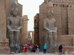 Gigantic statues of Ramses II in Luxor temple, Egypt