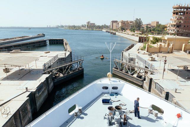 The Oberoi Zahra sailing through the Esna lock in Egypt