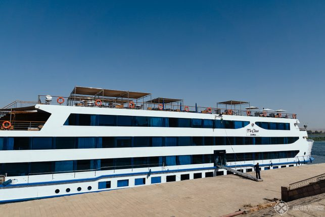 the oberoi zahra nile cruise ship at a private dock in aswan